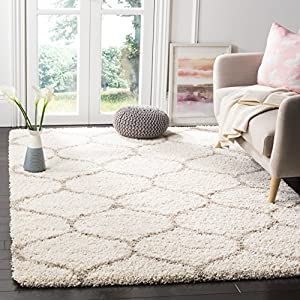 Safavieh Hudson Shag Collection SGH280D Moroccan Ogee Trellis 2-inch Thick Area Rug, 8′ x 10′, Ivory / Beige