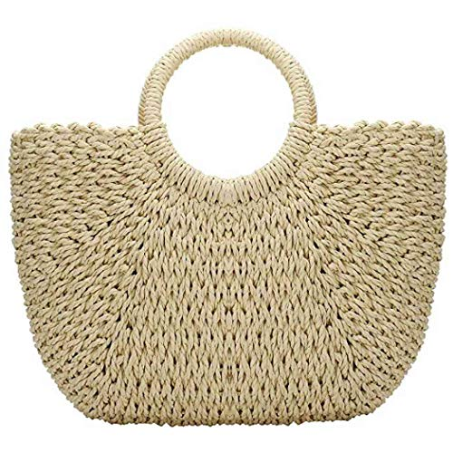 Hand-woven Straw Large Hobo Bag for Women Round Handle Ring Toto Retro Summer Beach Straw Bag (Beige)
