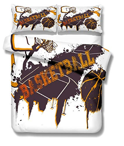 Funda de Edredón 3D, Graffiti de Baloncesto Juego de Ropa de Cama 3 Piezas con Cierr 1 Juego de Funda Nórdica de Microfibra y 2 Fundas de Almohada Suave y Transpirable (Double 200*200cm)