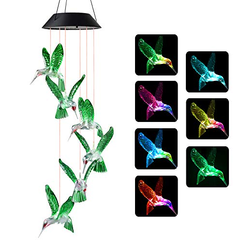 JOBOSI Wind Chimes, Hummingbird Wind Chimes Outdoor,Solar Wind Chimes, Gifts for mom, Birthday Gifts for Women