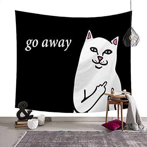 Rich Boxer Tapestry Beach Throw Tapestry Wall Hanging Dorm Decor for Living Room Bedroom Beach (White cat)(80x50Inches)(203x150cms)