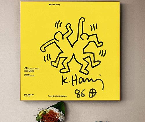 Lienzo Pintura Decoración Pintura al óleo Cuadro de la Pared Cartel Arte Moderno de la Pared Arte Pop Keith Haring Abstracto Hogar Creativo 60X60cm 24x24 Pulgadas Sin Marco