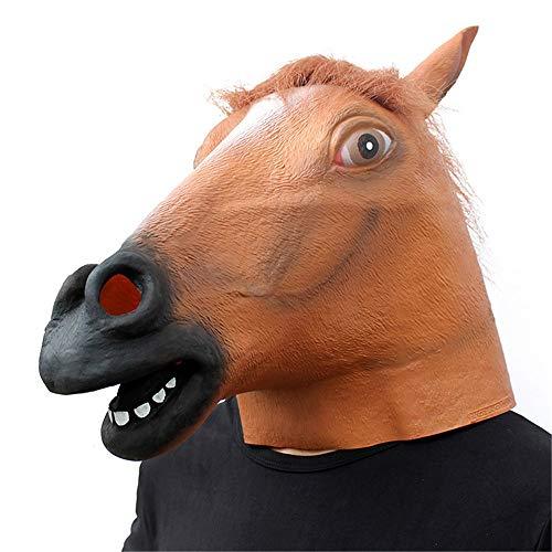 YBBGHH paardenkop, zwart, latex, masker, Halloween, compleet onderdeel voor horrordieren, dierenkop, accessoires voor maskerade, Halloween