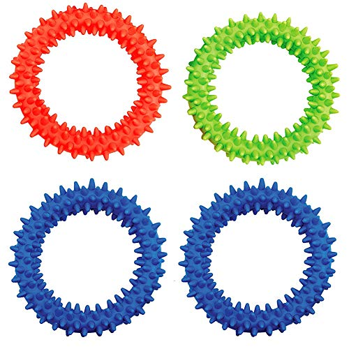 Spiky Sensory Ring/Bracelet Fidget Toy (Pack of 4) - Soft Flexible Ring and Rubber Spikes Helps Reduce Stress and Anxiety Children Youth Adults Sensory Toys