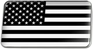 Subdued American USA Flag Black White Rectangle Lapel Pin Tie Tack