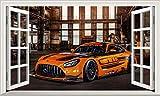 Chicbanners Mercedes AMG 3D V101 Magic Window Wall Sticker Selbstklebendes Poster Wall Art Größe 1000 mm breit x 600 mm tief (groß)