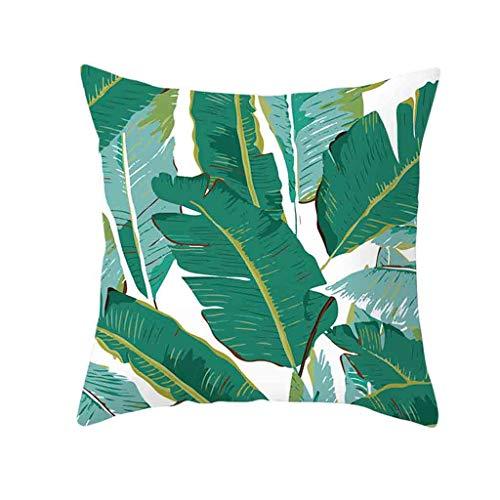 Xmiral Kissenhüllen Grün Pflanze Gedruckte Quadratischer Zierkissenbezüge 45cm x 45cm mit Versteckter Reißverschluss Kissenbezüge(BF)