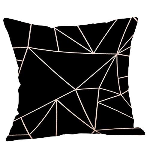 Federa Geometrico Lino Bianco E Nero,Decorazioni per La Casa Fodera per Cuscino Auto da Divano Hug Federa Quadrata 45Cm*45Cm(C,45cm*45cm)
