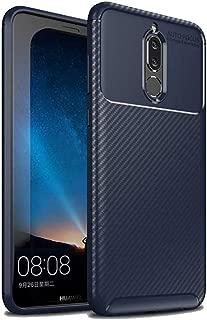 Huawei Mate 10 Lite Kılıf Anti Parmak İzi Karbon Görünüm Silikon Esnek Kapak Lacivert