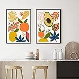DFGRHG Póster Moderno Abstracto de Frutas Tropicales e impresión en Lienzo Pintura Cuadros de Pared Cocina Comedor decoración del hogar-50x70cmx2 (sin Marco)