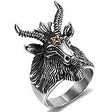 Stainless Steel Satan Worship Ram Goat Head Ring Star of David Aries Zodiac Biker (Grey Gold, 11)
