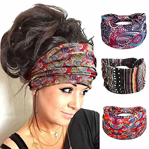 Zoestar Boho, diademas anchas, bufandas de cabeza de yoga rojas, elegantes vendimia, envolturas para el pelo turbante elásticas para mujeres y niñas (paquete de 3)