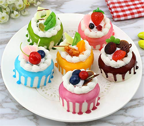 Skyseen 6pcs Realistic Artificial Simulation Cake Assorted Faux Fake Food Model Home Kitchen Staging Party Dessert Photography Props Home Decoration Display Cake