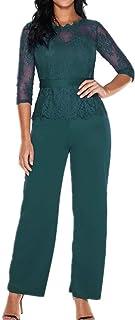 d4a817104d3 Lover-Beauty Mono Largo Casual Manga Larga Otoño Encaje Hueco Flounce  Pantalones Piernas Anchas Suit