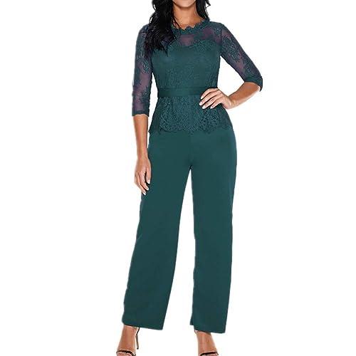 0584568d0 Lover-Beauty Mono Largo Casual Manga Larga Otoño Encaje Hueco Flounce  Pantalones Piernas Anchas Suit