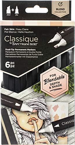 Crafter's Companion Spectrum Noir Classique Miscela di Alcool Marker Doppio Pennino Penne Set Pelle Chiara Confezione da 6, Fair Skin, Taglia unica
