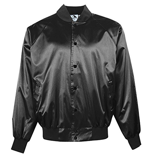 Augusta Sportswear Satin Baseball Jacket/Solid Trim M Black