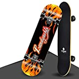 LW Skateboard - 31'x 9' Complete Pro Skateboard - Double Kick 9 Layer Canadian Maple Wood Trucos para Adultos Tabla de Skate para Principiantes