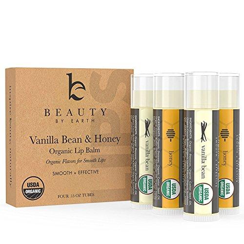 Beauty By Earth Lip Balm Organic (Vanilla & Miele) 4 Tubo pacchetto; Burro Lip puro e naturale della cera d'api con aloe vera,rotto o Labbra screpolate, migliore regalo Made in USA