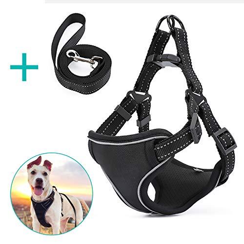 Omasi Hundegeschirr No Pull Hundegeschirr Dog Harness Verstellbar Brustgeschirr Atmungsaktiv Ausbruchsicher Gepolstert Reflektierend Hundegeschirr Set, M