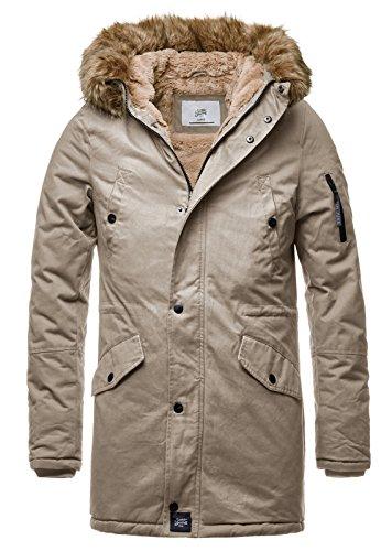 Sixth June Herren Parka Winter Jacke Fell Kapuze Lang Zipper schwarz grün M2000 M3310, Größe:M, Farbe:Beige