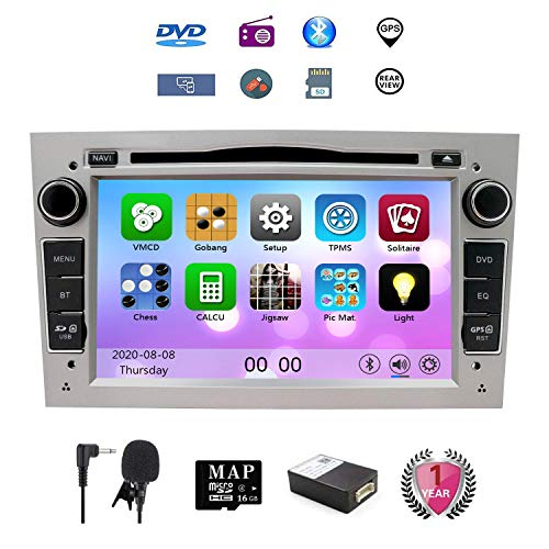 NVGOTEV Auto Audio Stereo Kopfeinheit passt für Opel Vauxhall DVD Player 7 Zoll HD Touchscreen GPS Navigation mit BT Lenkradsteuerung (Silber)