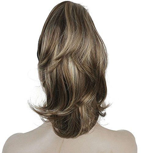 """Lydell 12"""" Dual Use Straight Curly Styled Clip In Claw Ponytail Hair Extension Synthetic Hairpiece 125g with a jaw/claw..."""