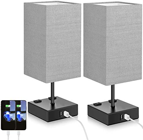 Set of 2 Touch Control Table Lamp with 2 USB Ports and 2 AC Outlets 3 Way Dimmable Modern Beside product image