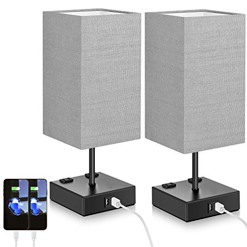 Set of 2 Touch Control Table Lamp with 2 USB Ports and 2 AC Outlets, 3-Way Dimmable Modern Beside Nightstand Lamp with Grey Fabric Shade for Bedroom Living Room Office Hotel, 2 LED Bulbs Included