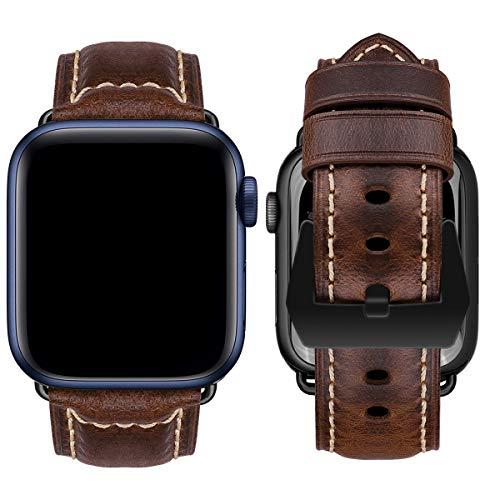 MroTech Uhrenarmband kompatibel mit iWatch 44mm Armband 42mm Lederarmband Ersatzarmband für iWatch Series 6/SE und Serie 5 4 3 2 1 echtes Leder Wechselarmband Schwarz Schnalle 42/44 mm-Retro Braun
