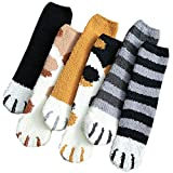 REYOK 6 Paar Damen Weichen Socken,Socken Damen Niedliche,Fleece Socks aus Korallensamt,Thick Warm Sleep Floor Socks,Plüsch Katze Klaue Design Winter Fluffy Fuzzy Warme Slipper Socken