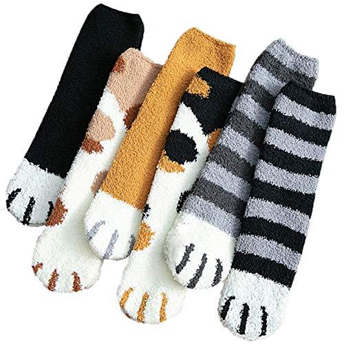 REYOK 6 Paar Damen Weichen Socken,Socken Damen Niedliche,Fleece Socks aus Korallensamt,Thick Warm Sleep Floor Socks,Plüsch Katze Klaue Design Winter Fluffy Fuzzy Warme Slipper Socken