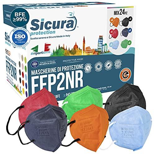 24 máscaras FFP2 Certificadas CE Fabricados en Italia BFE ≥99% Mezcla de 6 colores máscara FFP2 Azul, Naranja, Rojo, Negro, Azul y Verde Pluri Certificados ISO 13485 y 9001