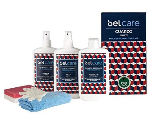 BELCARE - Kit Cuarzo (Limpiador, Abrillantador y Reparador) para Silestone para Encimeras de Cuarzo - Pack Completo para Tus encimeras