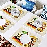 L'sWOW - Manteles individuales lavables con aislamiento térmico antideslizante, símbolos de Oktoberfest alemanes de trigo salchicha cerveza a, para comedor, cocina, restaurante, mesa, juego de 10