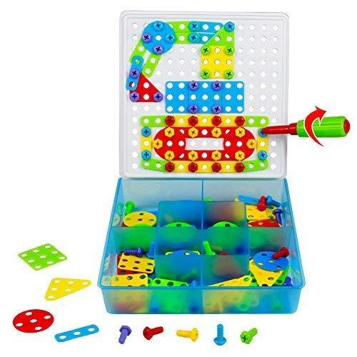 TONZE Mosaik Steckspiel Puzzle Spielzeug Bausteine Konstruktionsspielzeug Kinder ab 3 4 5 Jahre Mädchen...