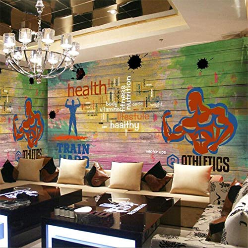 Aangepaste muurschildering 3D plank graffiti sport fitness club afbeelding muur achtergrond decoratieve muurschildering 3D wallpaper 430 cm x 300 cm.