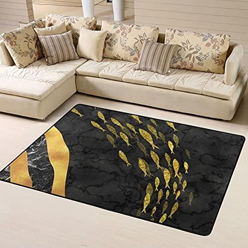 Alfombra de Dormitorio Golden Moon Non Slip Area Rugs 63 X 48 Inch, Carpet for Home Dining Room Playroom Living Room Large Floor Rug Floor Mat