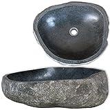 vidaXL Lavabo Rústico Forma Ovalada Piedra Río Natural 38-45 cm Lavamanos...