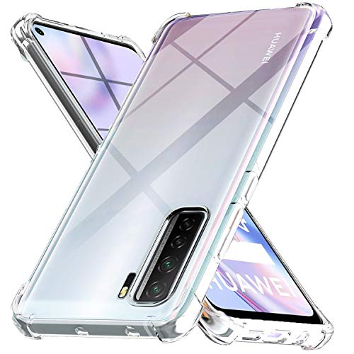 Ferilinso Funda Para Huawei P40 Lite 5G Carcasa,[Reforzar la versión con cuatro esquinas][Funda protectora de la cámara]Funda protectora de silicona de piel de goma TPU a prueba de goma(Transparente)