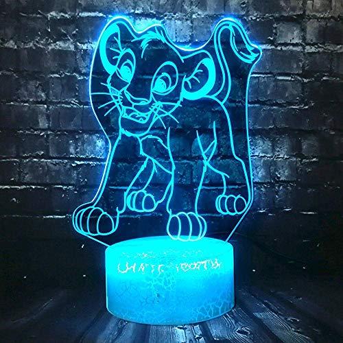 Lampe À Illusion 3D Simba Lampe De Table Le Roi Lion Figure Animal Led Chambre De Lave Roi De La Jungle Décor Ambiance Veilleuse Partie Fourniture Enfants Cadeau De Noël Jouet