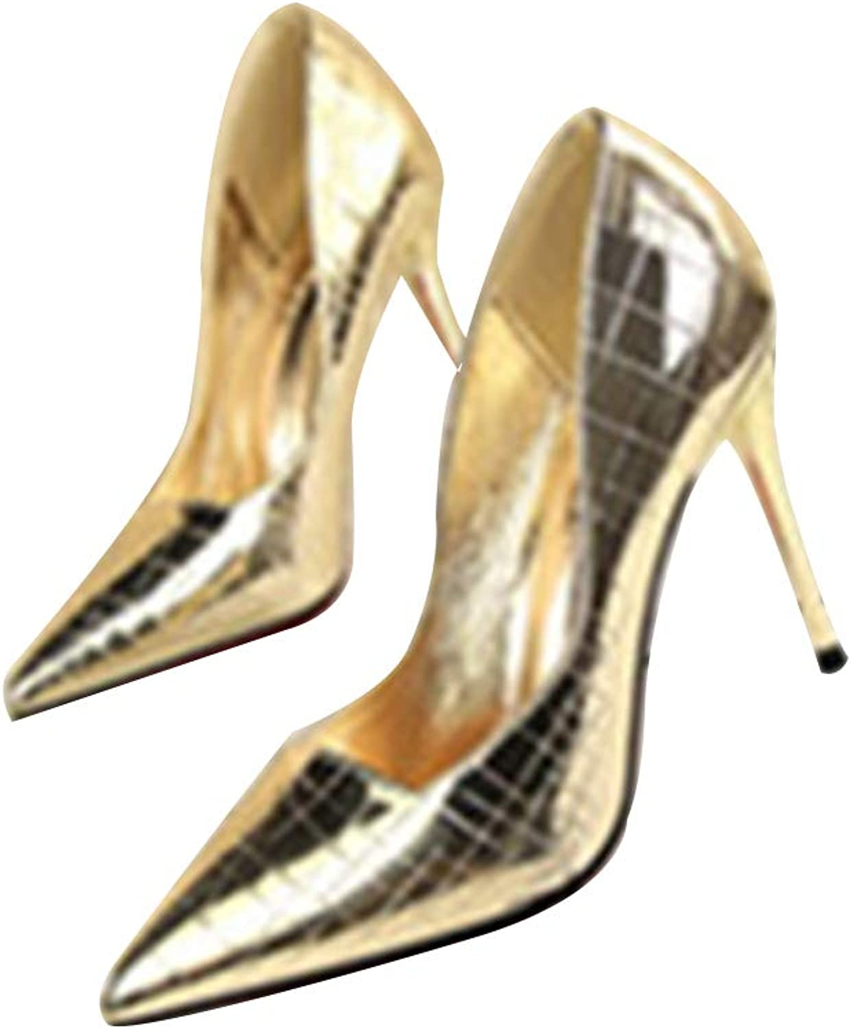 Vintage Shallow Mouth Pointed Metal Mirror Sexy Stiletto high Heel