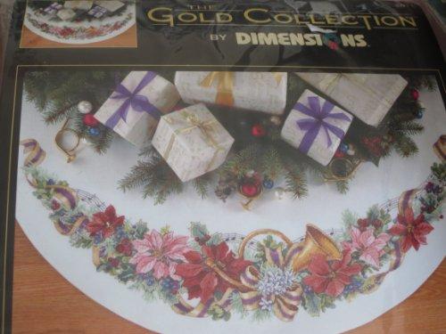 Holiday Harmony 45' Diameter Christmas Tree Skirt Counted Cross Stitch Kit