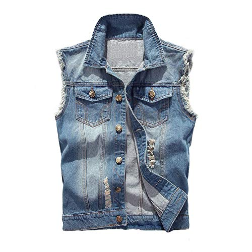 CHIYEEE Heren Retro Demin Gilets Ripped Mouwloos Jas Jeans Vest Waistcoat Top Vest S-5XL
