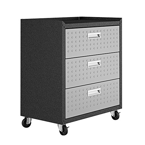 Manhattan Comfort Fortress Collection Convenient Durable Mobile Garage Chest Great for Tools and Supplies, Dark Charcoal Gray/Silver