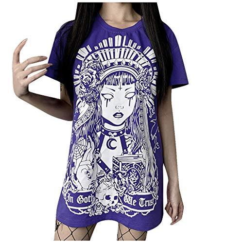 FRAUIT Damen Gothic T-Shirt Kleid Plus Size Freizeit Sommerkleid Punk Schwarz Retro Bedrucktes Kurzarm Minikleider Casual Langes Shirt Lose Tunika (S, A1-Lila)