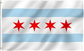 Oniche Chicago Flag 3x5 Ft City of Chicago Flag Polyester Vivid Color Flag Chicago IL Flags with Brass Grommets(Chicago Flag)