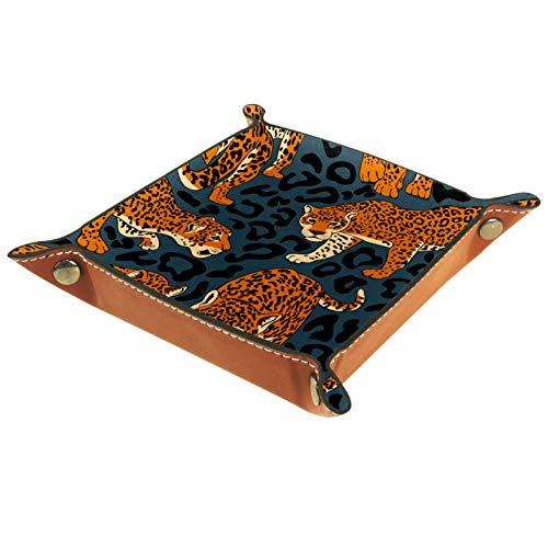 MEITD Bandeja de cuero para guardar joyas Catchall, bandeja para la mesita de noche, para llaves, teléfono, cambio de monedas, relojes y artículos de la entrada, Jaguares salvajes y piel depredadora