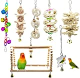 Bird Parrot Toys, <span class='highlight'><span class='highlight'>ESRISE</span></span> Hanging Bell Pet Bird Cage Hammock Swing Climbing Ladders Toy Wooden Perch Mirror Chewing Toy for Small Conures, Love Birds, Small Parakeets Cockatiels, Macaws (Muliti-D)
