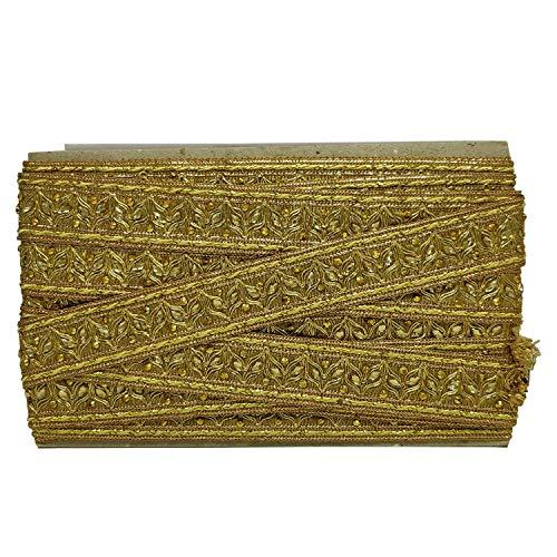 Trimming Shop 1 Meter Goud Lint Kant met Bronzen Parel Kralen voor Kunst Ambachten Decoratie, Bruiloft, Vrouwen Dames Bruidsjurken, Scalloped Edge Vintage Stijl Trim Versiering